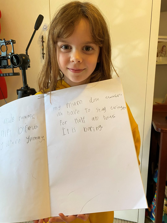 Daughter with handwritten note