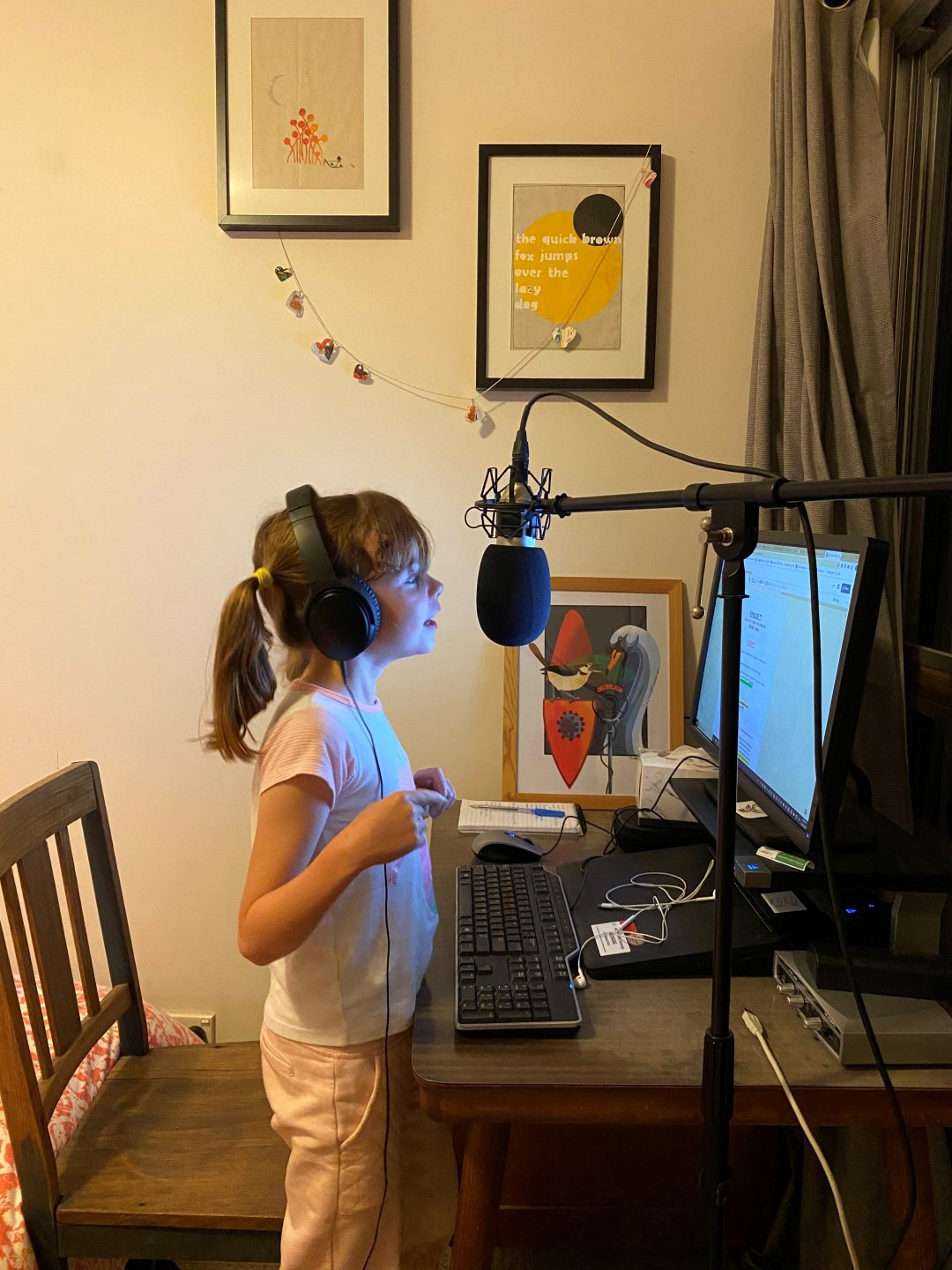 Daughter in front of microphone