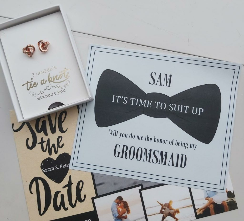 Wedding invitation and save the date. Rose gold earrings