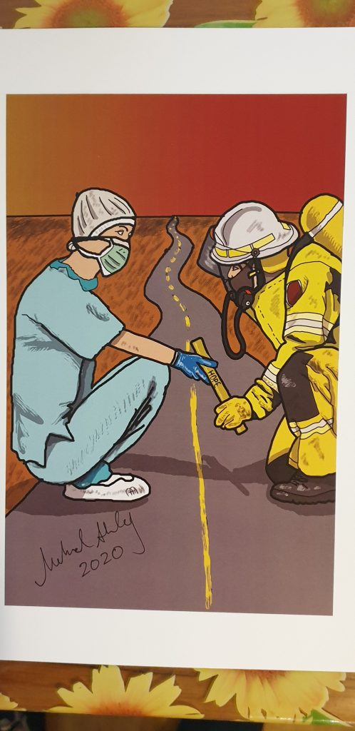 Illustration of nurse and fire fighter standing on a road, passing a hope yellow stick with hope written on it.