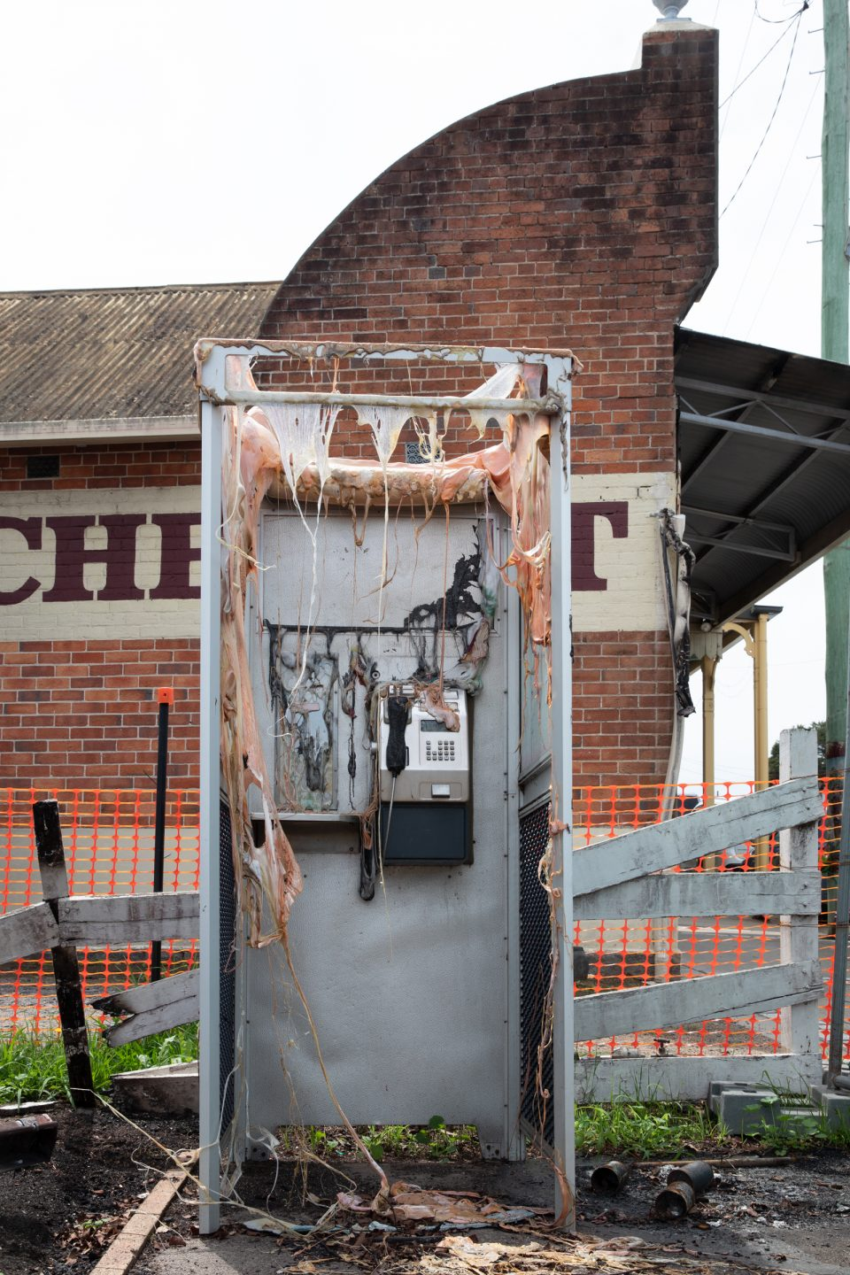 Payphone that's affected by bushfire.