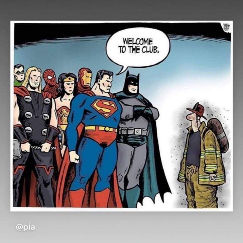 Cartoon of various superheroes saying 'Welcome to the Club' to a firefighter.