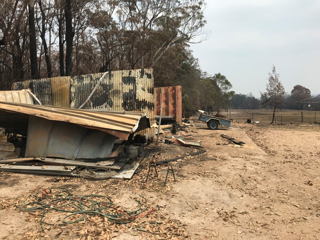 A rural property burned by a bush fire
