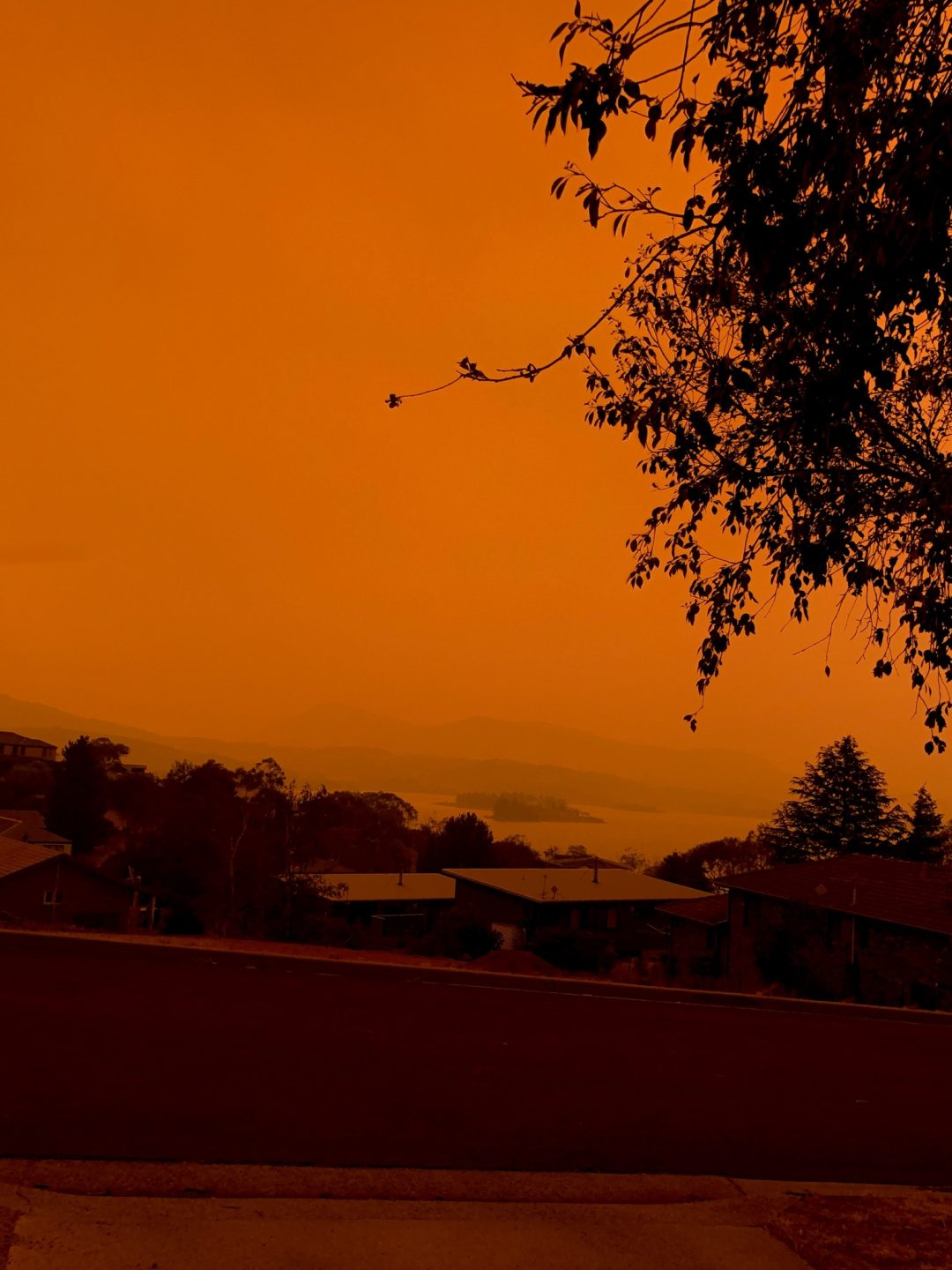 A view over suburban properties in the town of Jindabyene. The sky is orange because of nearby bush fires.