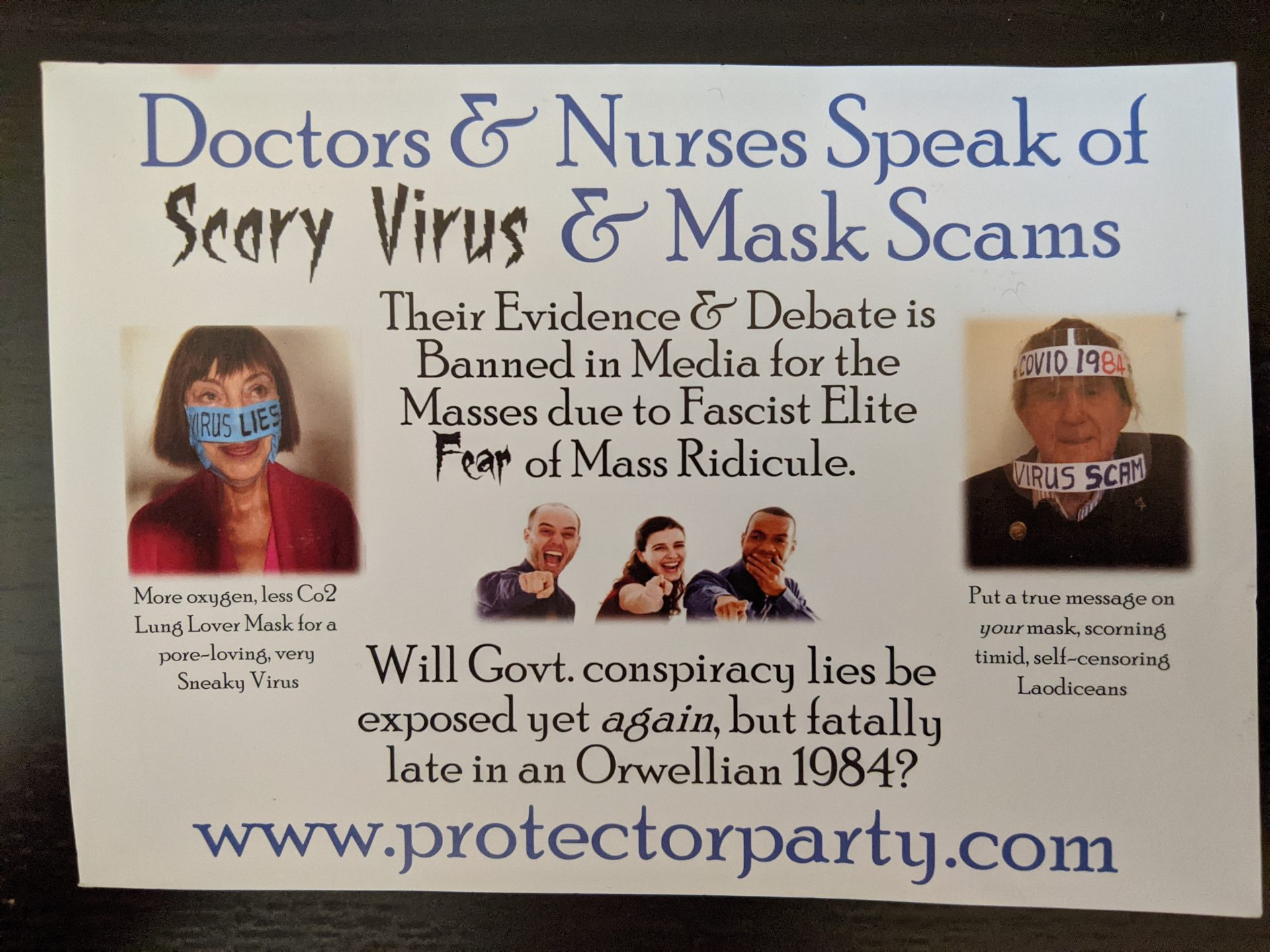 Flyer with headline 'Doctors and nurses speak of scary virus and mask scams'. Includes images of two people wearing face masks with protest messaging.