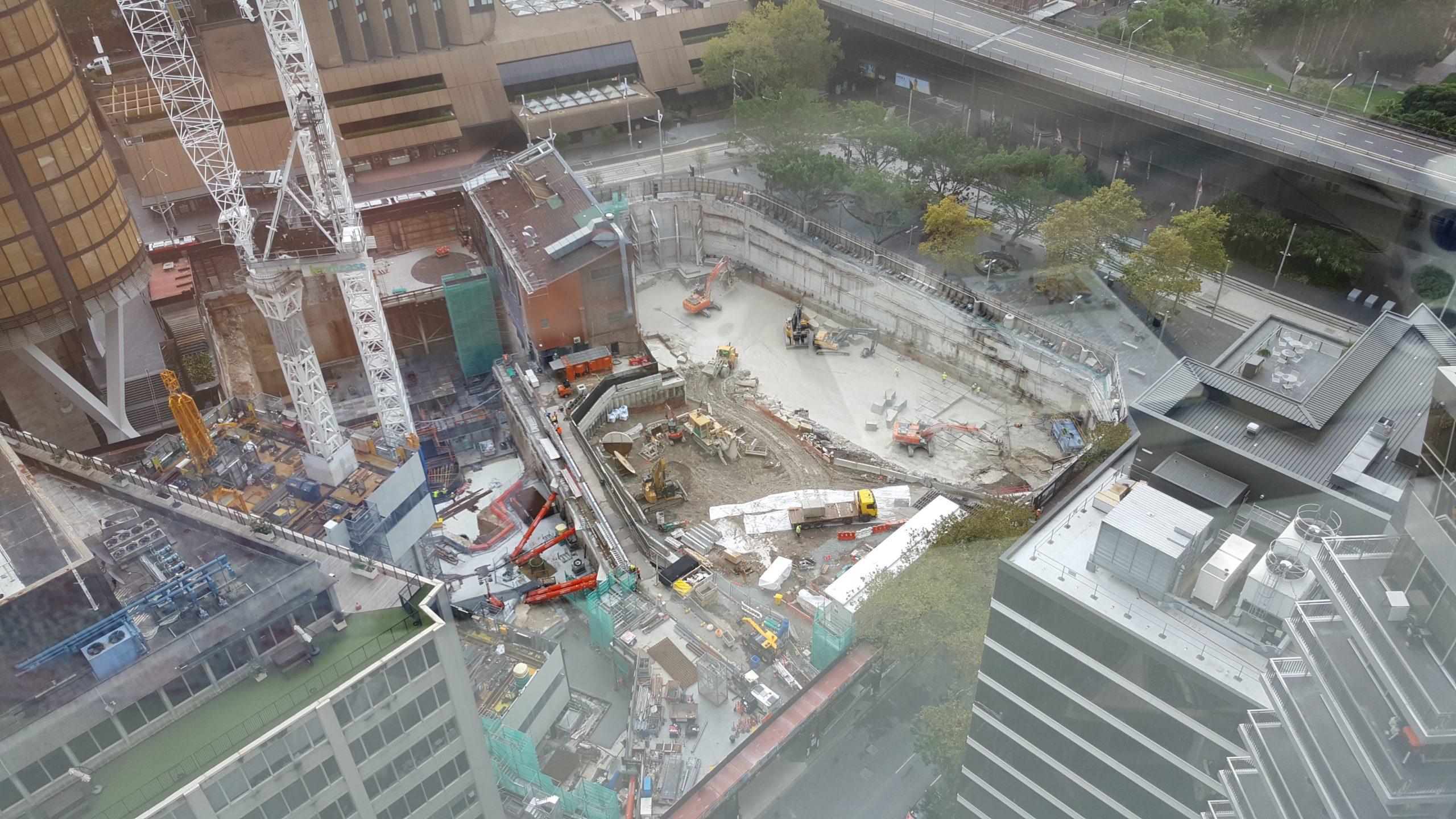 Construction site opposite Marriott Hotel overlooking Sydney Harbour