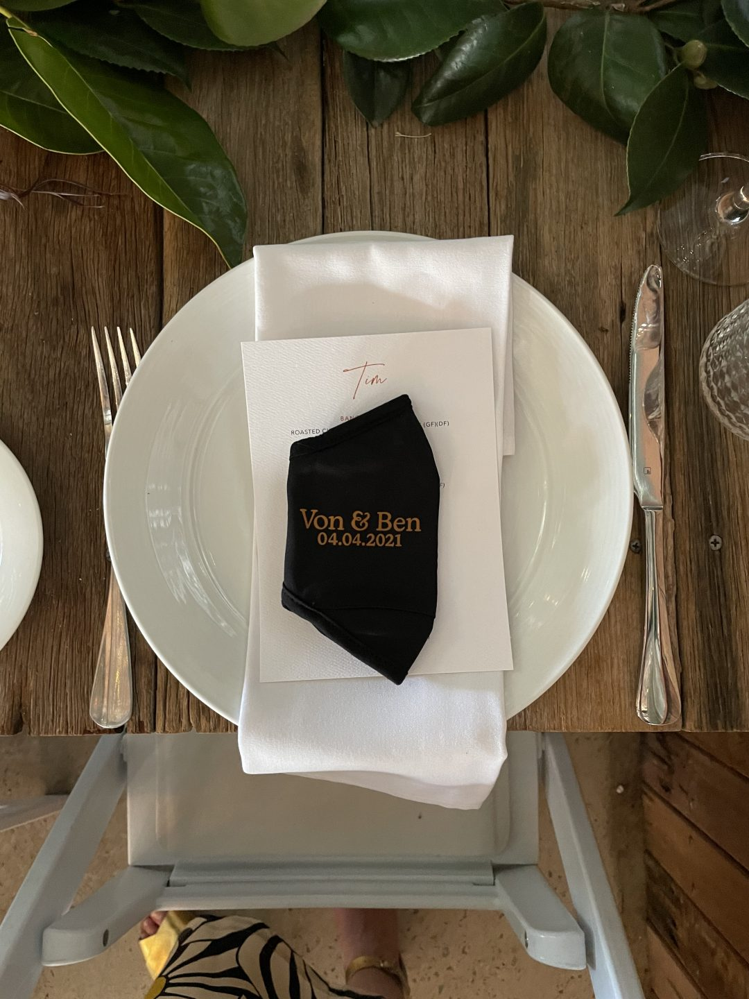 a table setting at a wedding .