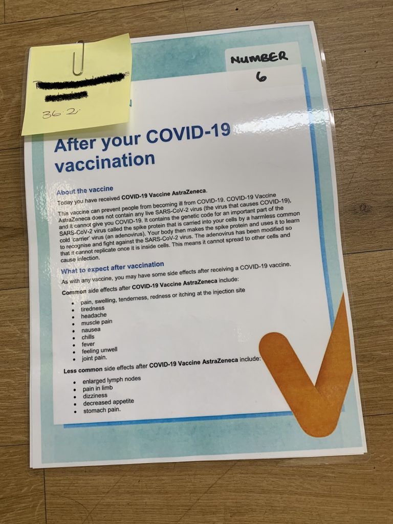 an information sheet about the covid-19 vaccine