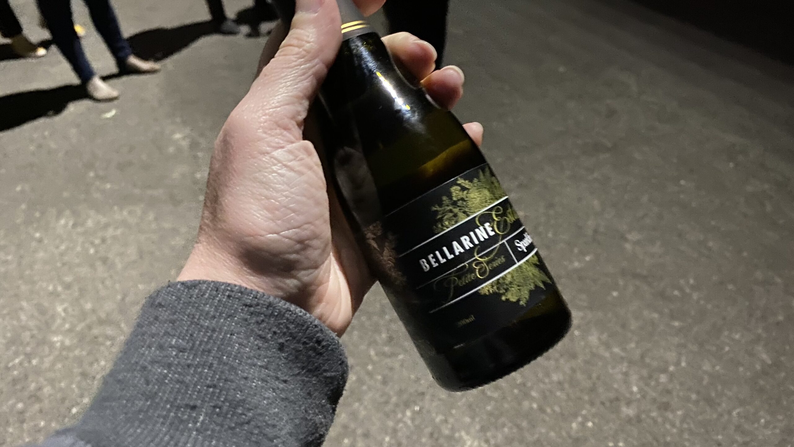 Bottle of champange in a hand