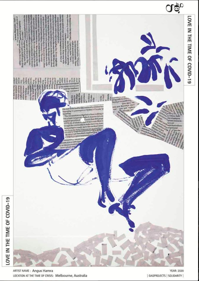 A reclining figure is painted simply in blue paint. The figure is watching a laptop, which is created from a collage of newspaper clippings. The figure sits within an interior simply suggested through an arrangement of newspaper clippings, which refer to COVID-19.