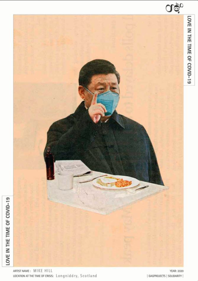 Xi Jinping is presented wearing a blue surgical mask, and sits improbably in front of a cooked breakfast and a newspaper. The image is set onto a peach coloured background.