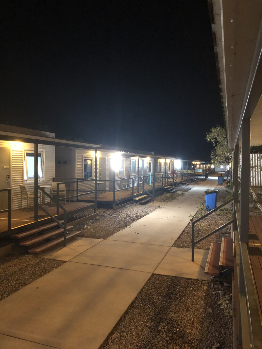 Cabins at nighttime