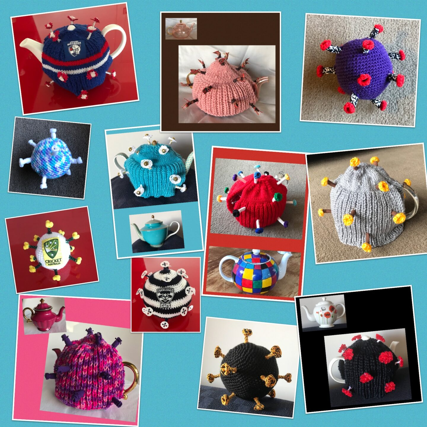 A selected of knitted tea cosies in a COVID virus design