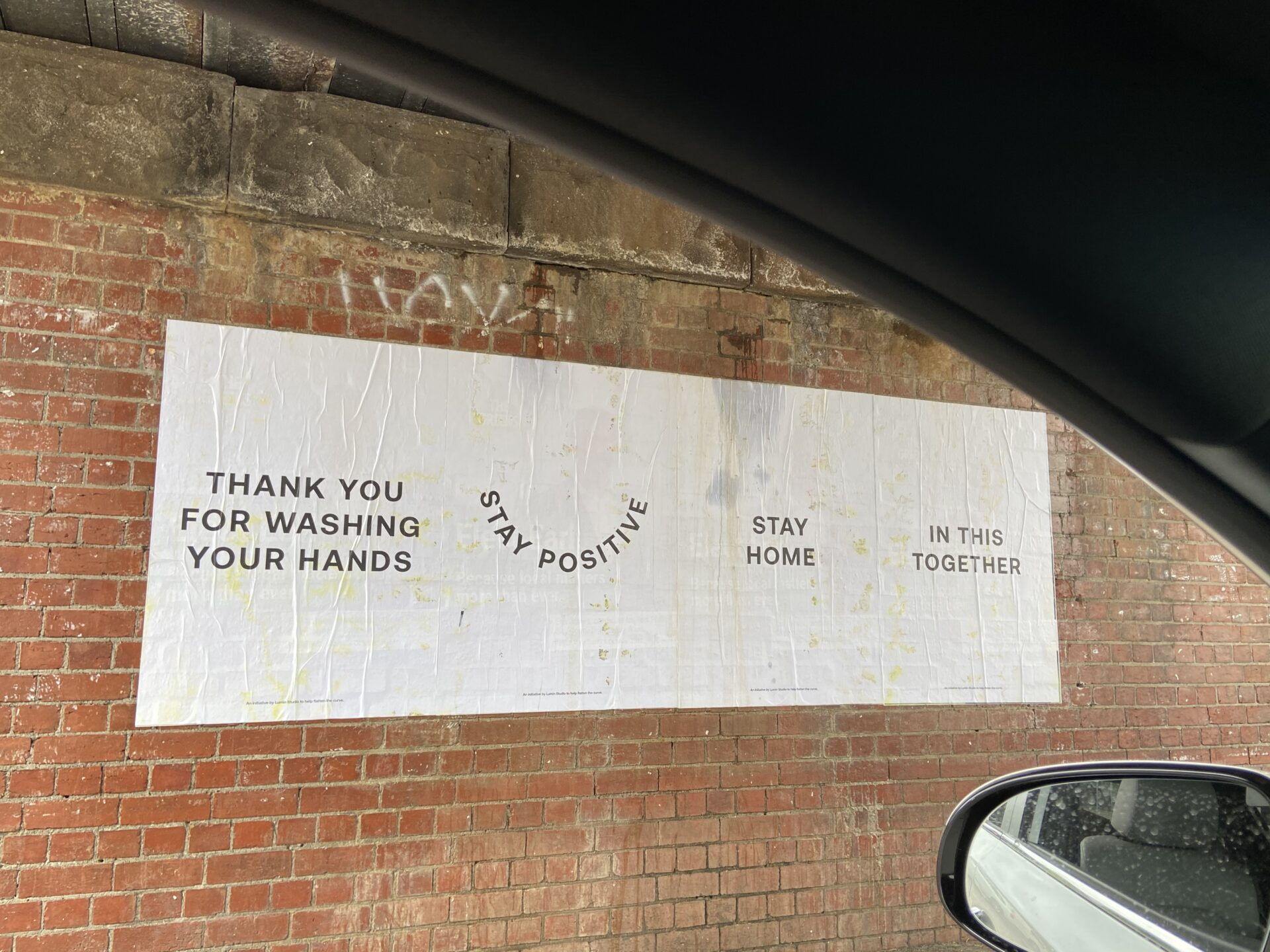 A paste up poster that says 'thank you for washing your hands'