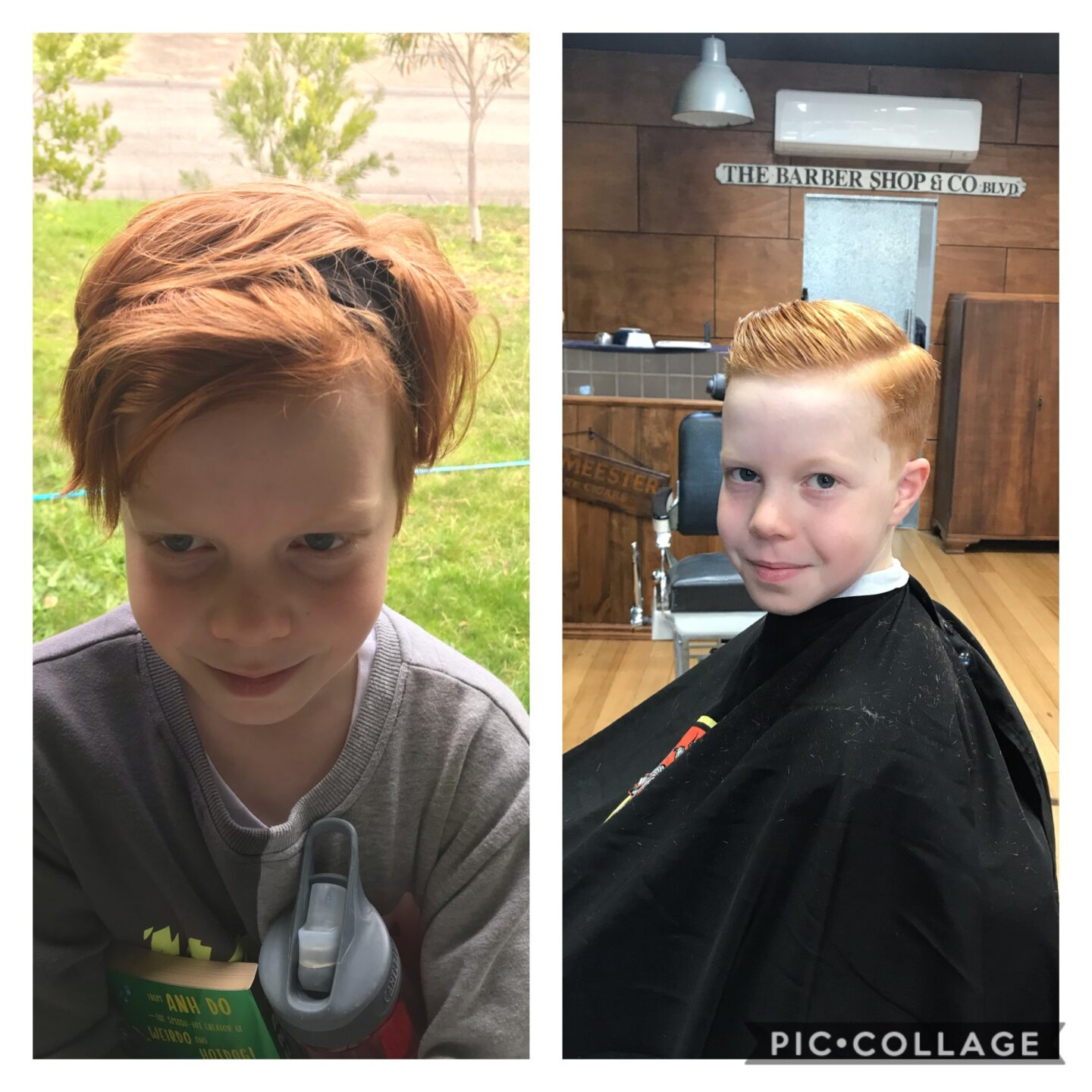 A slpit screen of a young person with long grown our hair on the left and in the barber chair on the right with a recent haircut.