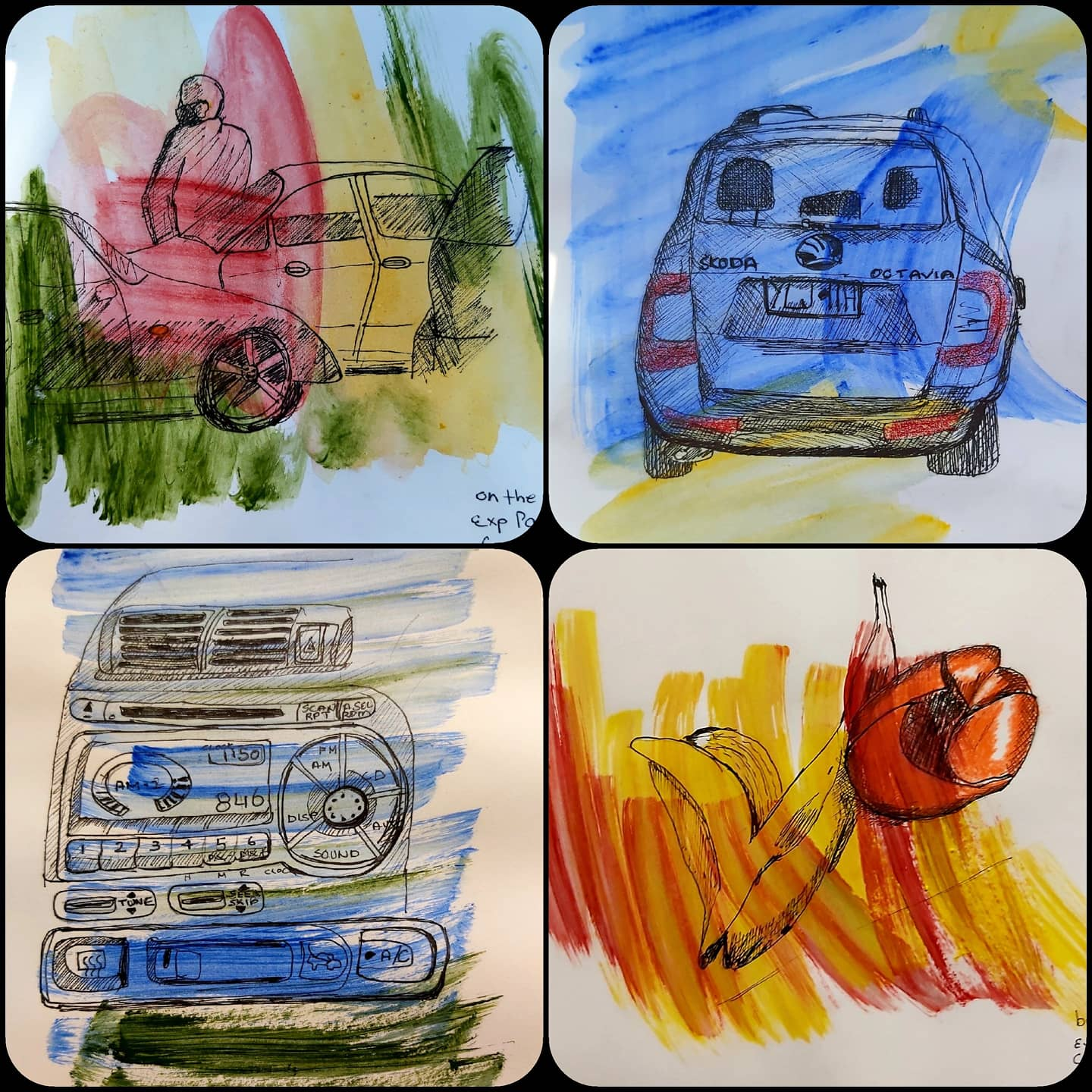 four colourful sketches. two of the exteriors of cars. one of the dashboard of a car, and one of banana and mandarin skins.