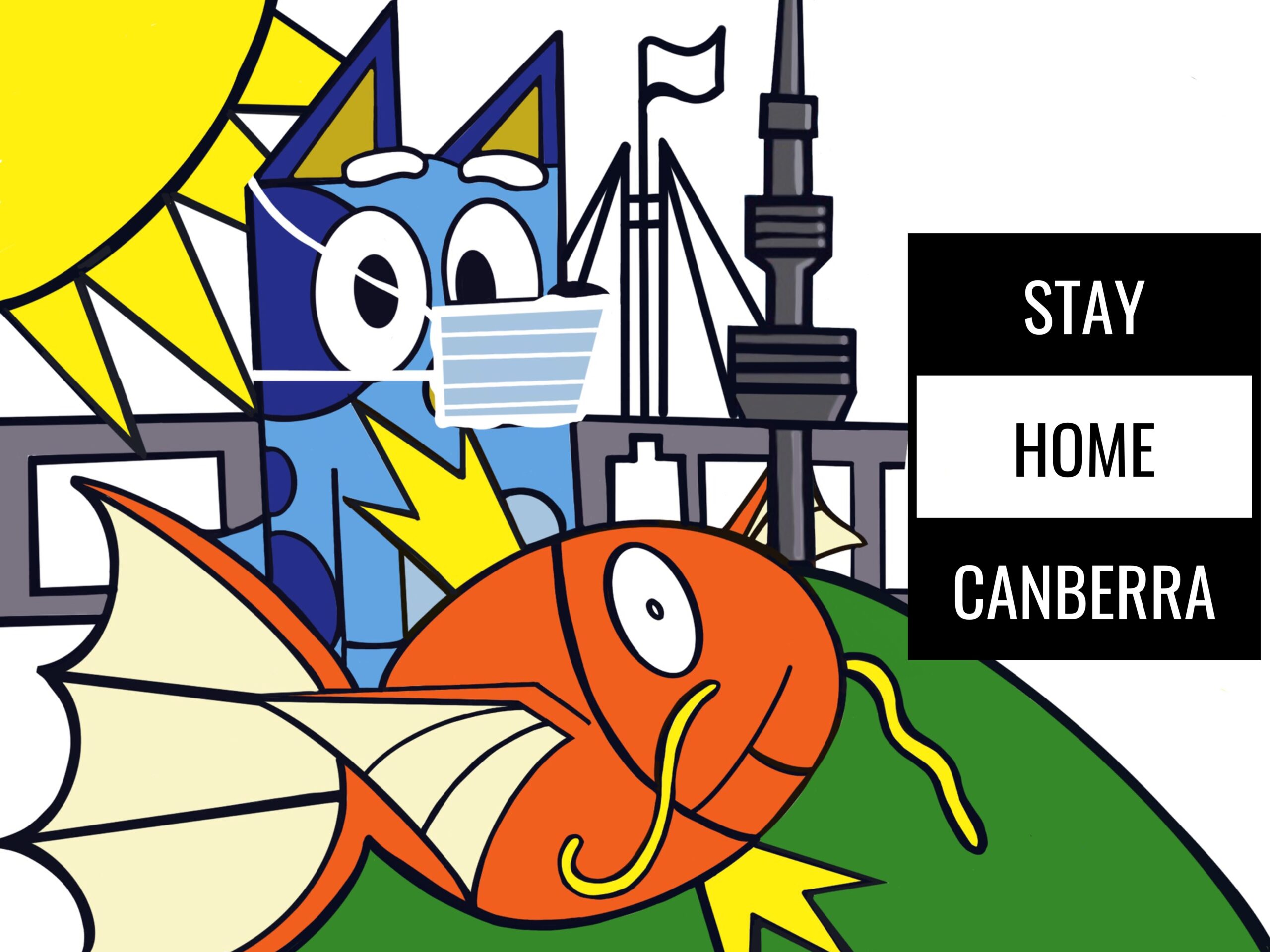 Masked Bluey and Magikarp with standing outside Parliament House  and Telstra Tower