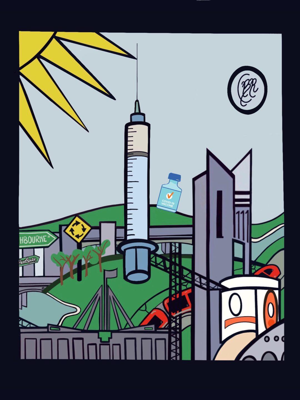 Needle surrounded by Canberra landmarks.
